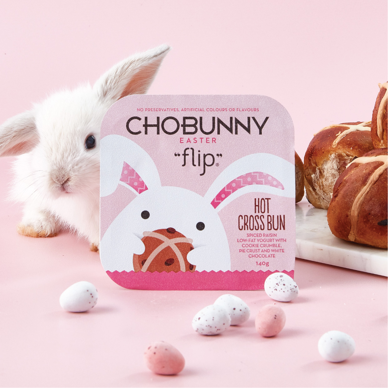 Chobani Chobunny Easter Flip Hot Cross Bun Packaging Design