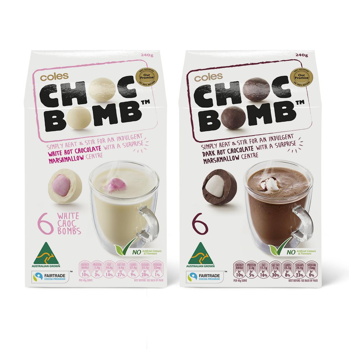 Davidson Branding FMCG Packaging Coles Choc Bomb Range