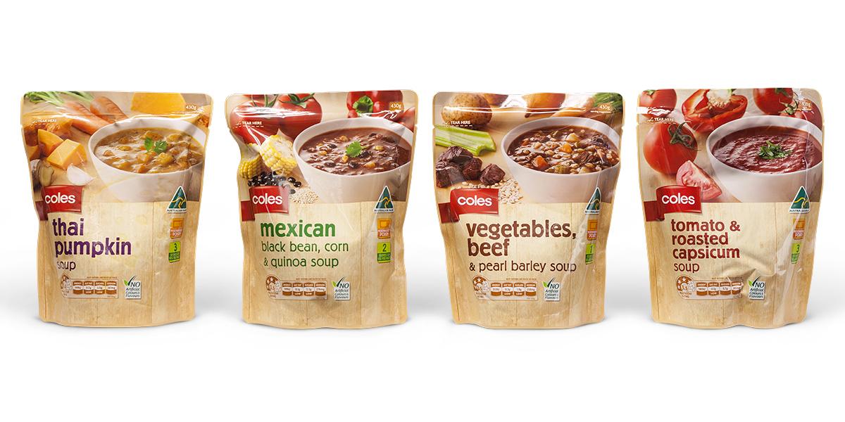 Davidson Branding FMCG Packaging Coles Soup Pouch Range