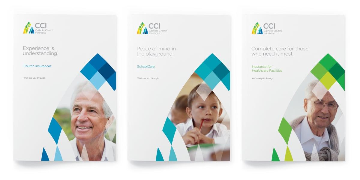 Davidson Branding Corporate Catholic Church Insurance CCI Stained Glass Window Visual Language Community Brochure