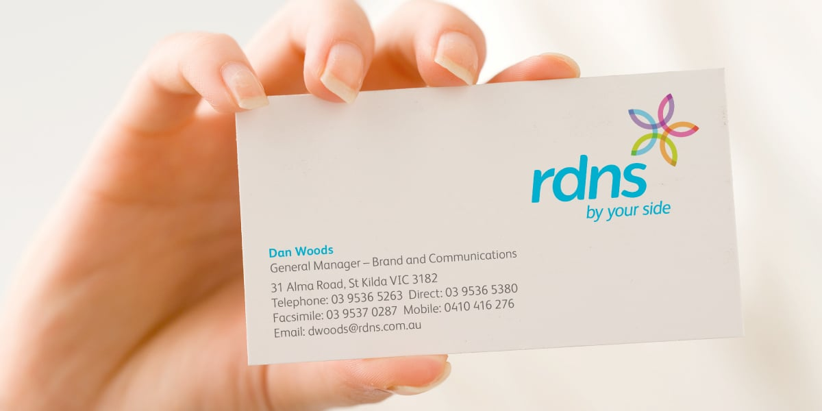 Davidson Branding Corporate Royal District Nursing Service RDNS Brand Identity Logo Design Visual Language Business Card