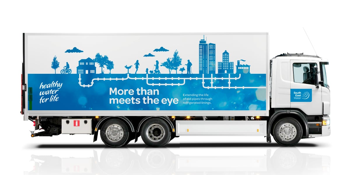Davidson Branding South East Water Melbourne Corporate Brand Identity Brand Strategy Silhouette Illustration Vehicle Graphics Truck Livery
