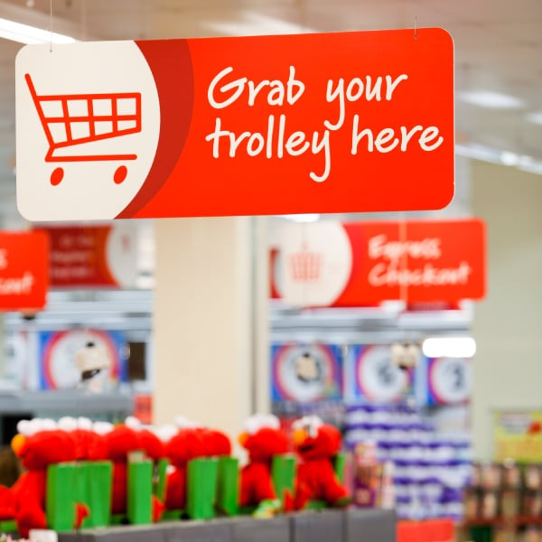 Davidson Branding Retail Coles Supermarket Signage Trolley Navigation