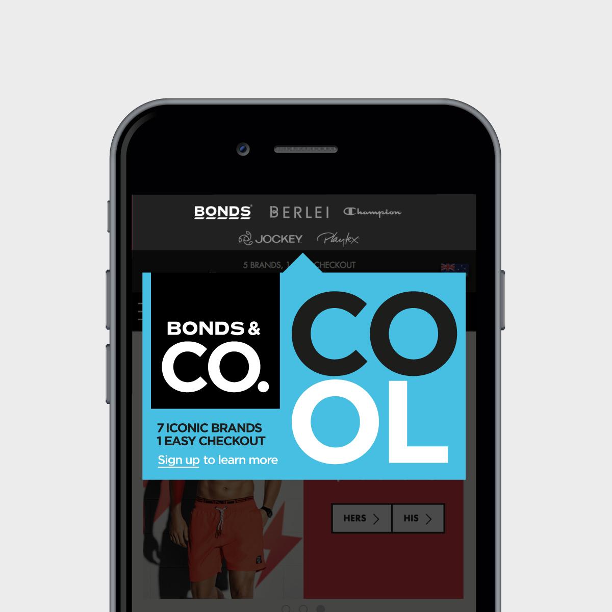 Bonds & Co. Mobile Website Pop-up