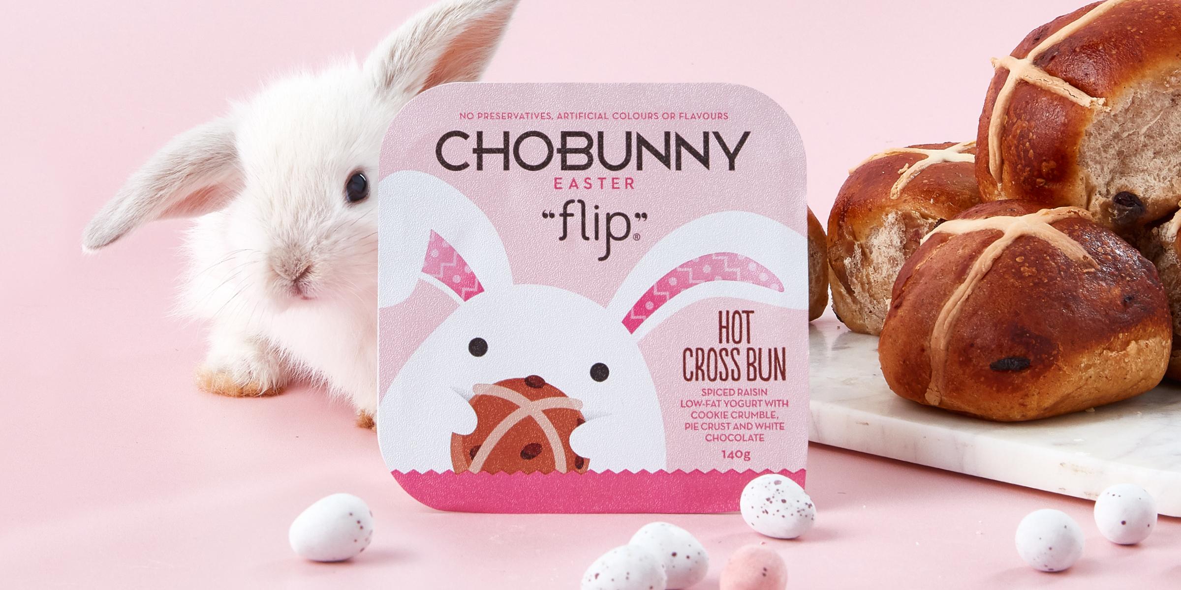Chobani Chobunny Easter Flip Hot Cross Bun Packaging Design