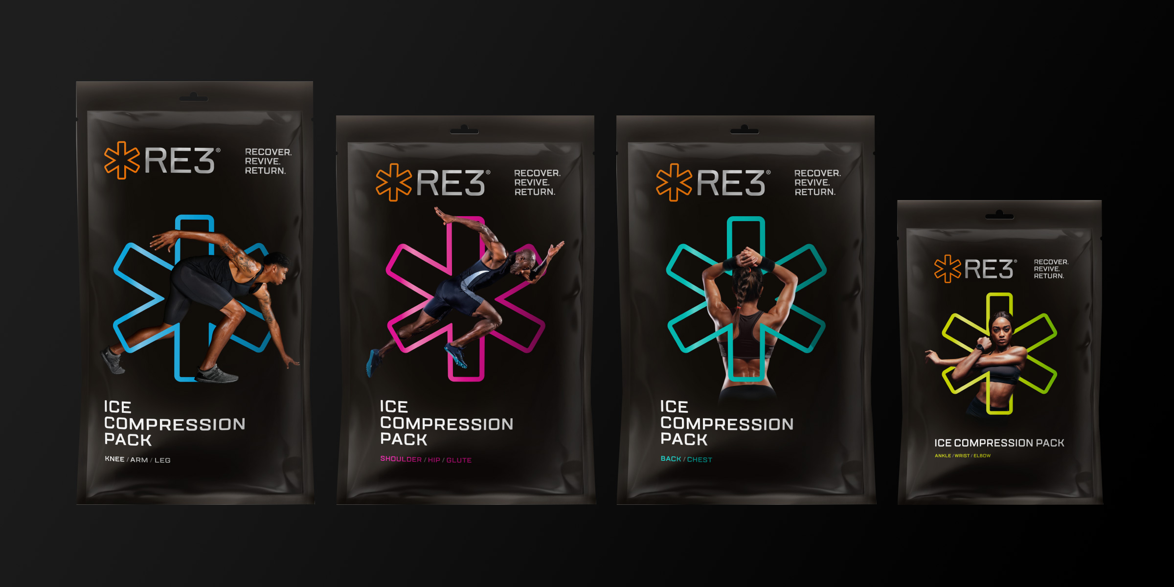 RE3 Ice Compression Pack Davidson Branding We Grow Retail Brand Identity Sport Packaging Pack Range