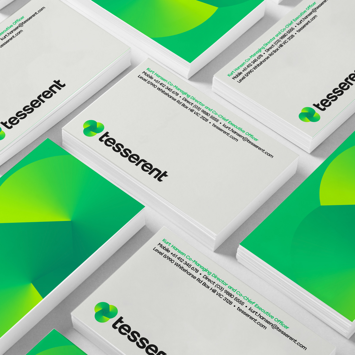 Tesserent Brand Identity Corporate Business Cards