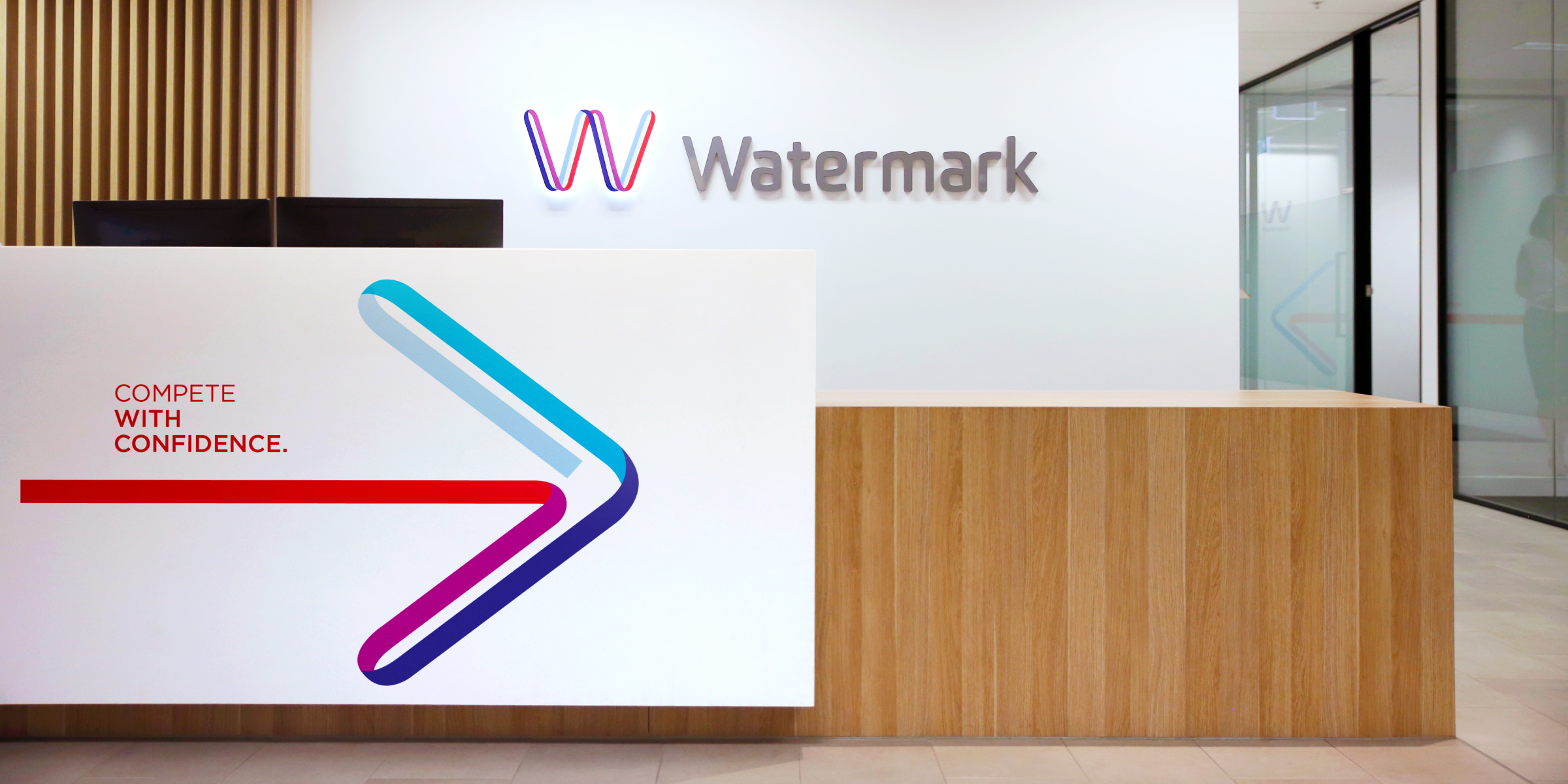 Watermark Brand Identity Arrow Graphic Interior Signage Design