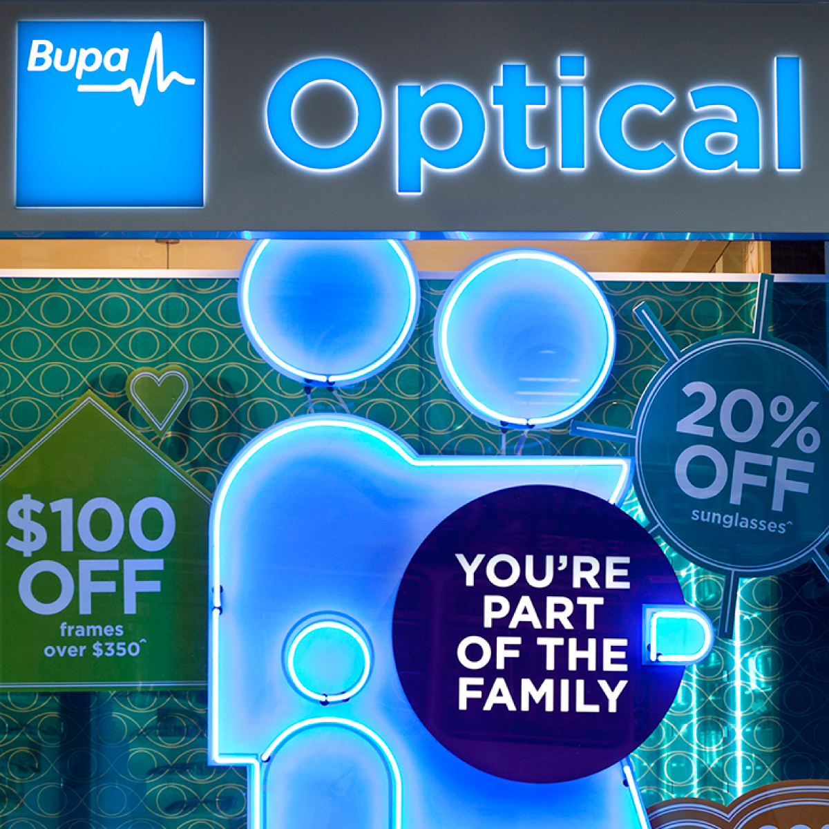 Bupa Optical Exterior Window Display Design