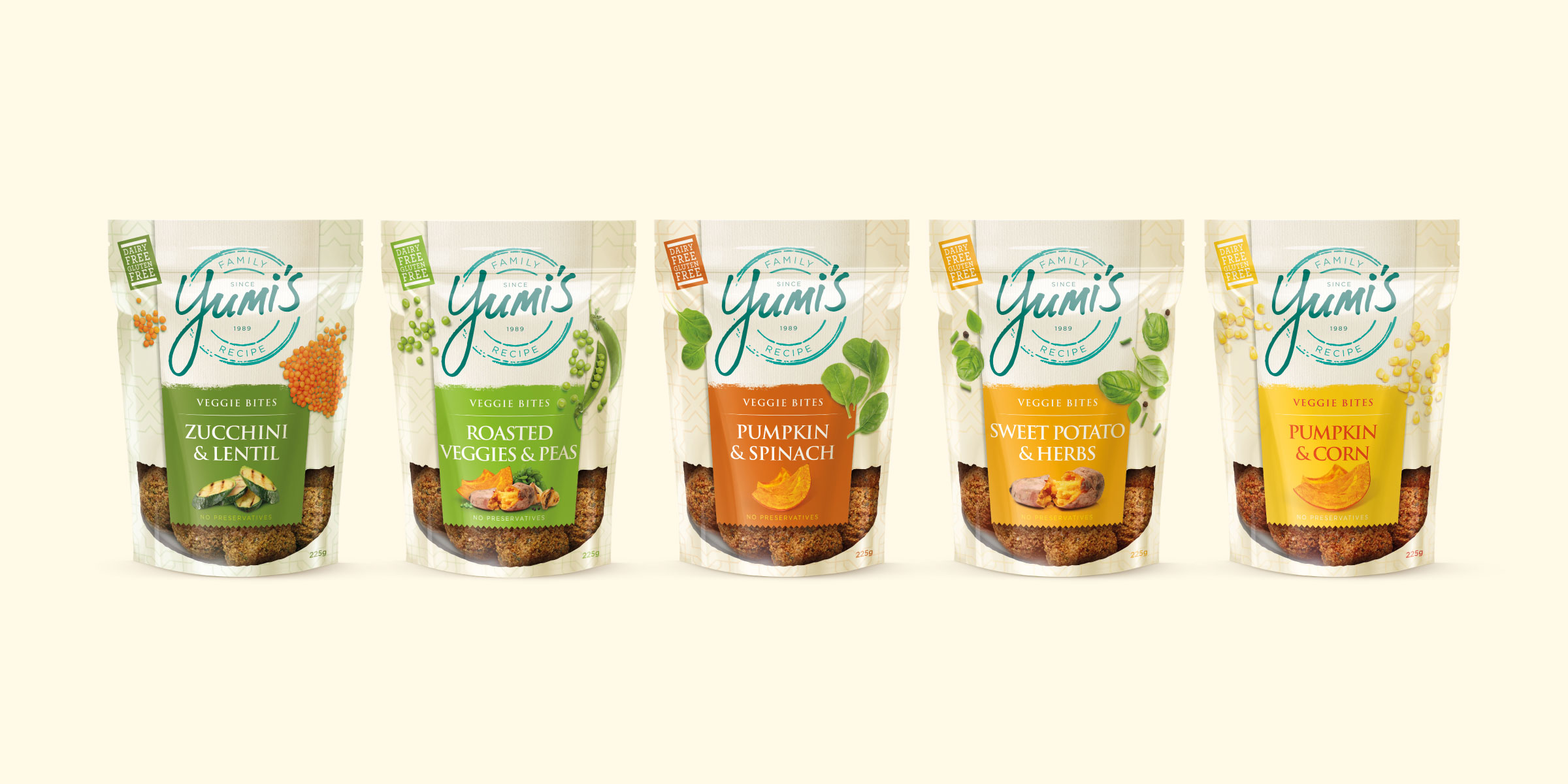 Yumi's Veggie Bites Range Packaging Design