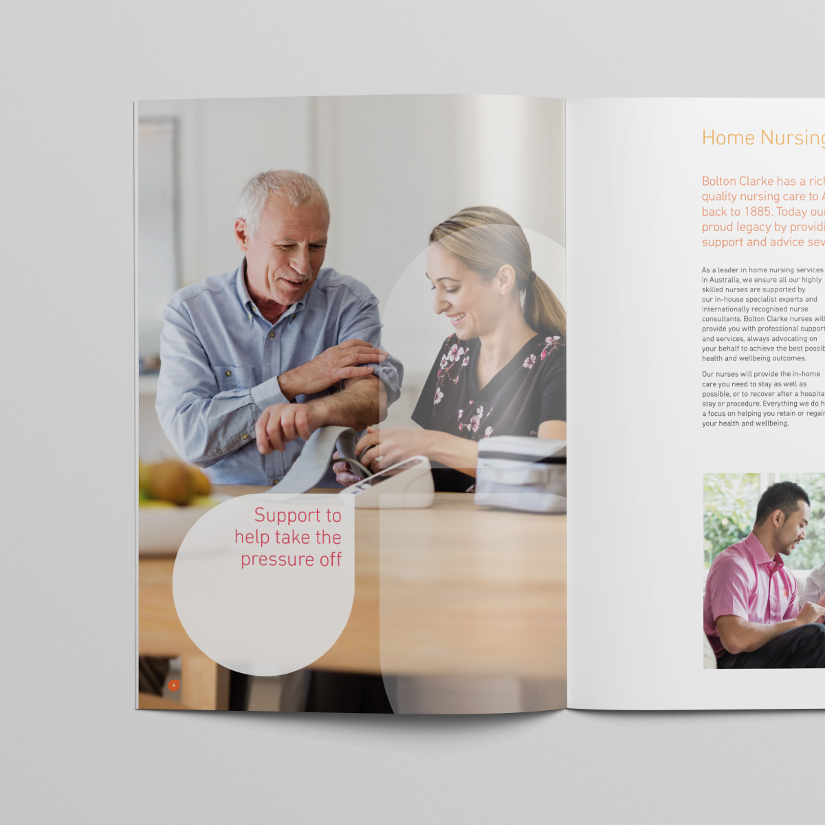 Davidson Branding Corporate Business Healthcare Bolton Clarke Logo Brochure Photography Man Carer
