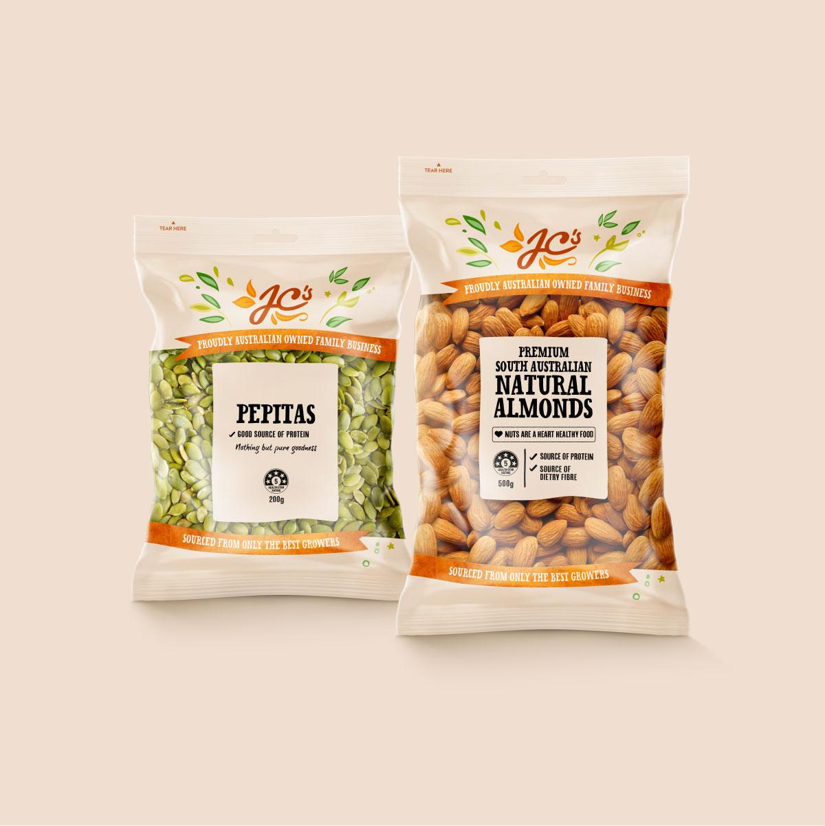 JC's Quality Foods Nuts Brand Identity Packaging Design Digital Website