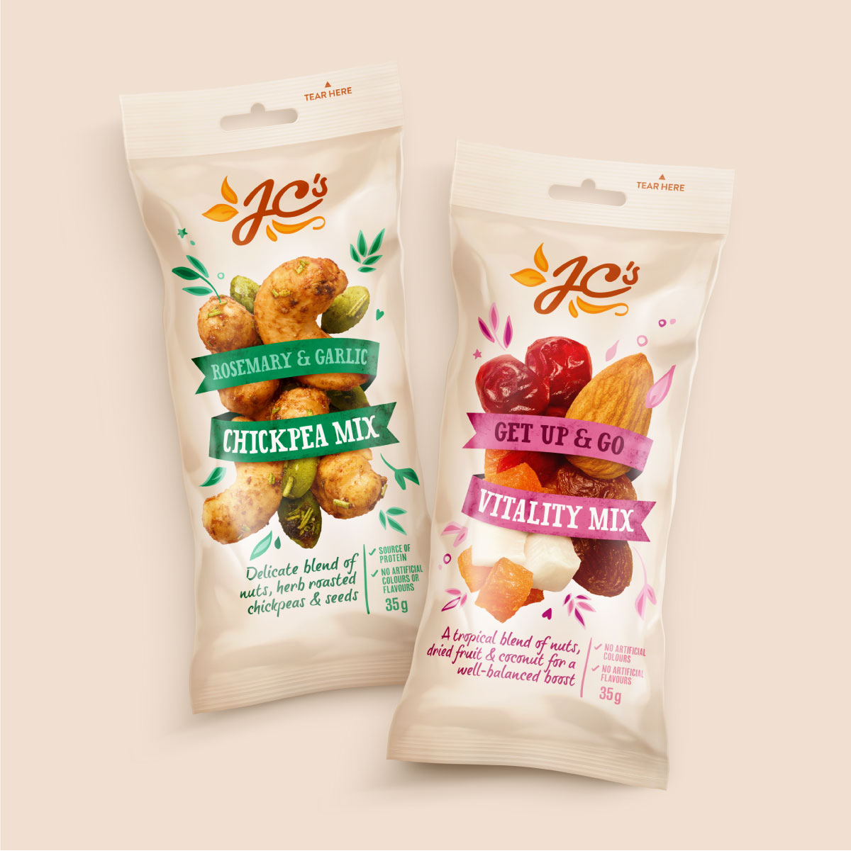 JC's Quality Foods Nuts Brand Identity Packaging Design